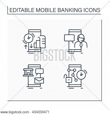 Mobile Banking Service Line Icons. Transaction History, Customer Care, Request New Pin. Online Banki