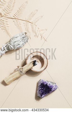 Palo Santo Sticks, Dried Sage And Druse Amethyst, Magic Rock For Ritual, Witchcraft, Spiritual Pract