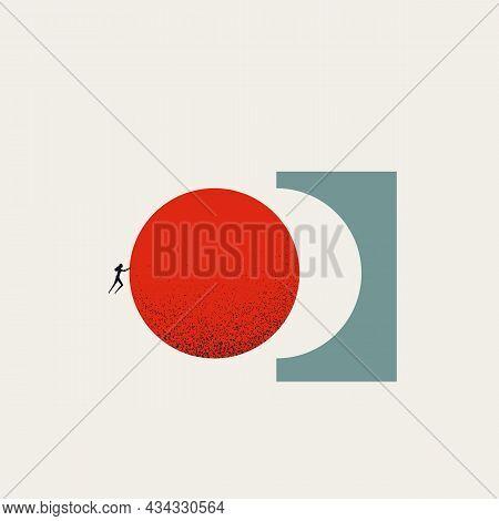 Business Accomplishment Vector Concept. Symbol Of Success, Completion, Challenge, Goal Achievement.