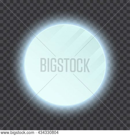 Realistic Bathroom Round Mirror With Backlight On Transparent Background. Wall Mounted Led Vanity Ba