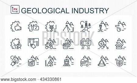 A Set Of Vector Linear Icons . Geological Industry, Mining Industry.