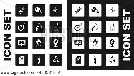 Set Wind Turbine, Human Kidney, Petri Dish With Pipette, Dna Symbol, Laboratory Glassware Or Beaker,