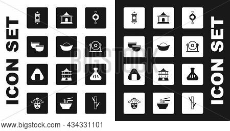 Set Chinese Paper Lantern, Sushi, Tea Ceremony, Gong, House, Dumpling And Icon. Vector