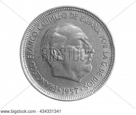 Spain Five Ptas Coin On White Isolated Background