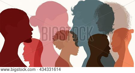 Silhouette Heads Faces In Profile Of Multiethnic And Multicultural People. Psychology Concept. Solvi