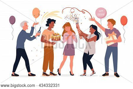 Cartoon Fun Party Celebration With Group Of Man Woman Friend Characters Isolated On White. Happy Peo