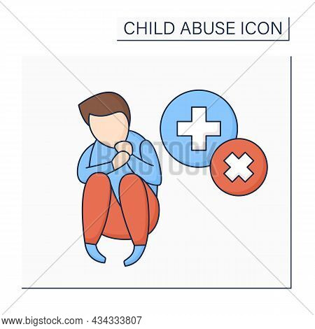 Medical Neglect Color Icon.failure To Provide Adequate Medical Care For Child. Child Abuse Concept.