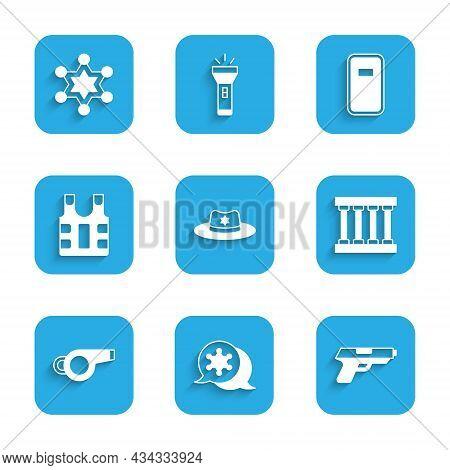 Set Sheriff Hat With Badge, Hexagram Sheriff, Pistol Or Gun, Prison Window, Whistle, Bulletproof Ves