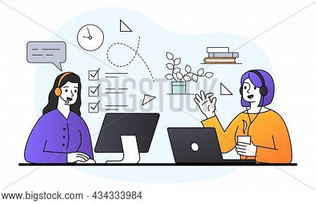 Two Young Female Characters Are Working On Computers In The Office Together On White Background. Con