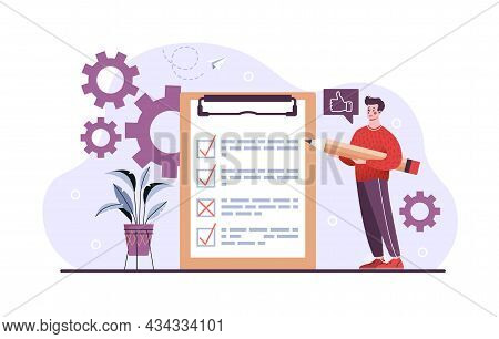 Young Happy Smiling Male Character Standing With Test Paper Results On Clipboard Showing Checkmarks.