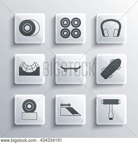 Set Skate Park, Skateboard T Tool, Wheel, And Headphones Icon. Vector