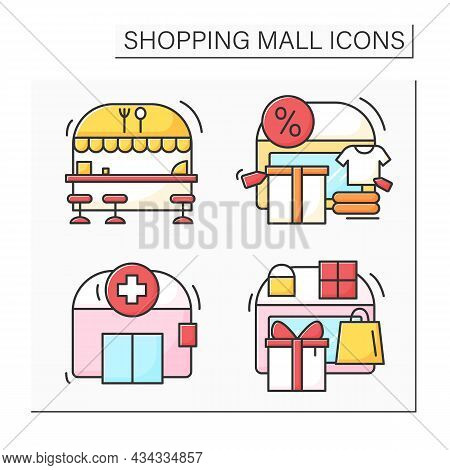 Shopping Mall Color Icons Set. Public Restaurant, Pharmacy, Gift Store And Outlet Center. Mall Compl