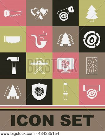 Set Two-handed Saw And Log, Wooden Beam, Logs, Hand, Smoking Pipe, And Christmas Tree Icon. Vector