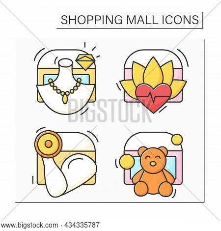 Shopping Mall Color Icons Set. Jewelry And Toy Store, Spa And Fitness Center. Mall Complex Concept.