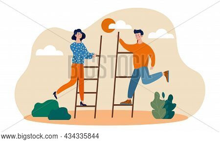 Male And Female Character Are Taking Small Steps For Big Achievements. Concept Of Persistence And Da