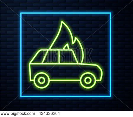 Glowing Neon Line Burning Car Icon Isolated On Brick Wall Background. Car On Fire. Broken Auto Cover