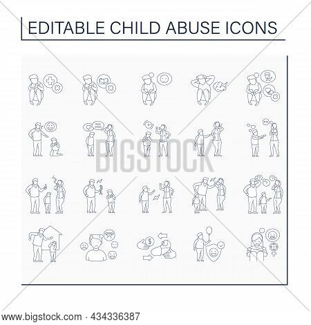 Child Abuse Line Icons Set. Shaming, Humiliating.bullying.aggressive Actions Against Kid. Crime Conc