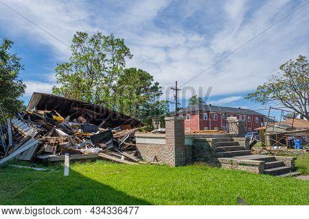 New Orleans, La - September 24: House Flattened By Hurricane Ida On September 24, 2021 In New Orlean