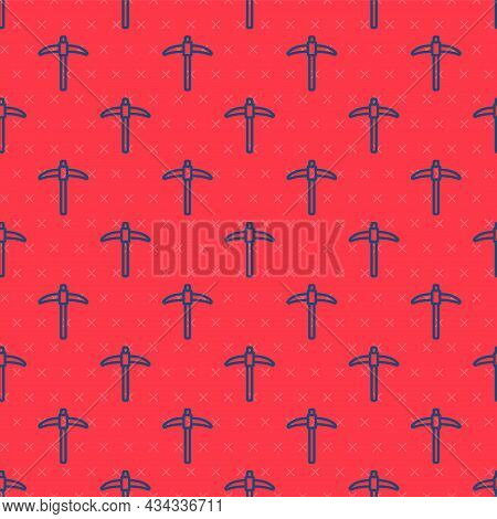 Blue Line Pickaxe Icon Isolated Seamless Pattern On Red Background. Vector