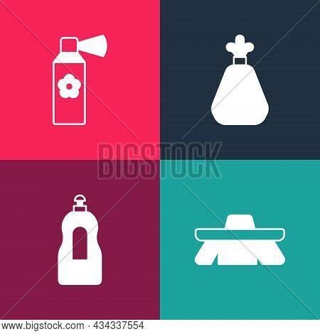 Set Pop Art Brush For Cleaning, Dishwashing Liquid Bottle, Garbage Bag And Air Freshener Spray Icon.