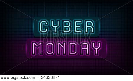 Neon Cyber Monday Sale, Blue And Purple Light. Glowing Neon Text Of Cyber Monday For Social Media Po
