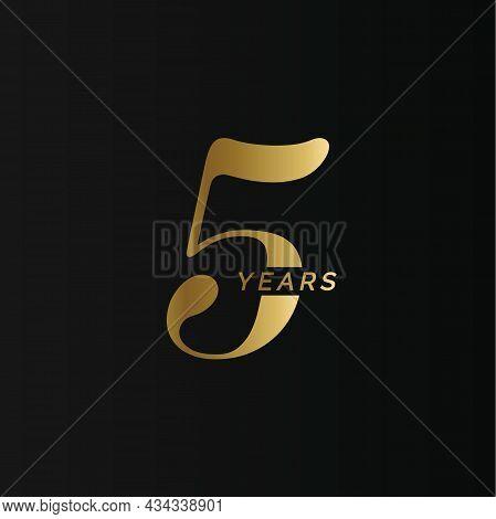 Anniversary Company Logo, 5 Year, Five Gold Number, Wedding Anniversary, Memorial Date Symbol Set, G