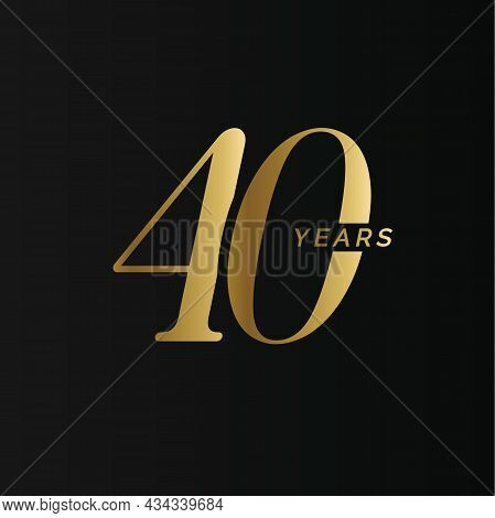 Anniversary Company Logo, 40 Years, Forty Gold Number, Wedding Anniversary, Memorial Date Symbol Set