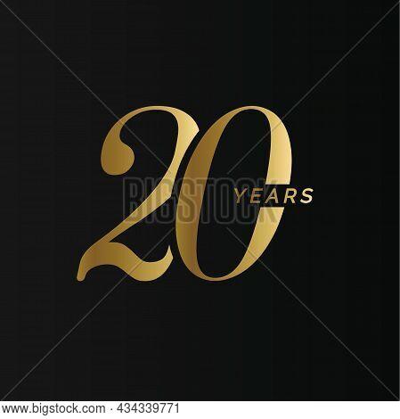Anniversary Company Logo, 20 Years, Twenty Gold Number, Wedding Anniversary, Memorial Date Symbol Se