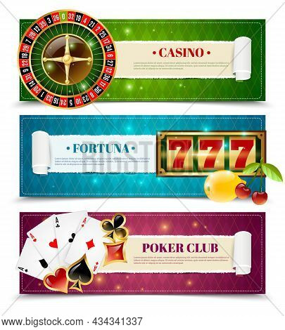 Casino Poker Club 3 Horizontal Bookmarks Banners With Aces And Fortune Slot Machine  Isolated Vector