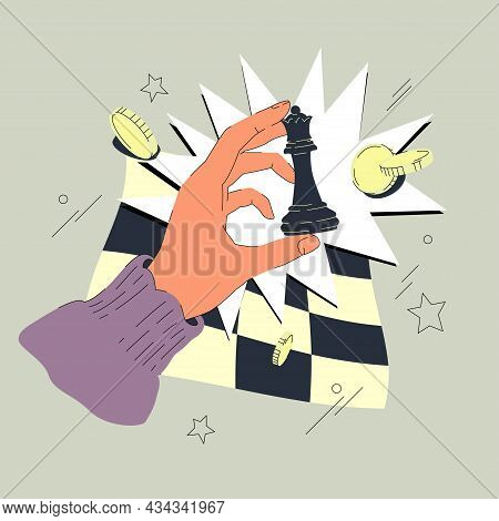 Hand With Chess Queen Vector Illustration. Chess Piece, Comic Bubble, Checkerboard, And Some Coins O
