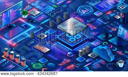 Hardware And Software Computer Technology Background. Isometric Elements Of Development, Engineering