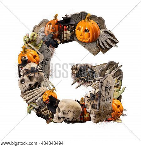 Letter G Made Of Variety Halloween Objects Isolated On White Background