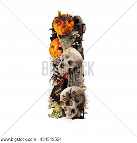 Letter I Made Of Variety Halloween Objects Isolated On White Background