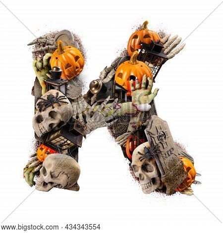 Letter K Made Of Variety Halloween Objects Isolated On White Background