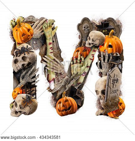 Letter M Made Of Variety Halloween Objects Isolated On White Background