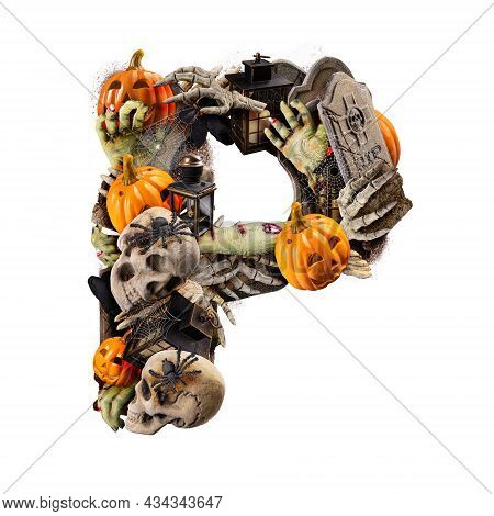 Letter P Made Of Variety Halloween Objects Isolated On White Background