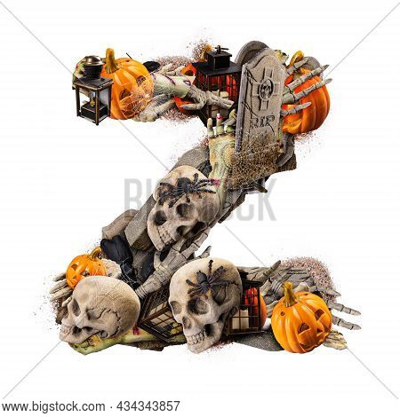 Letter Z Made Of Variety Halloween Objects Isolated On White Background
