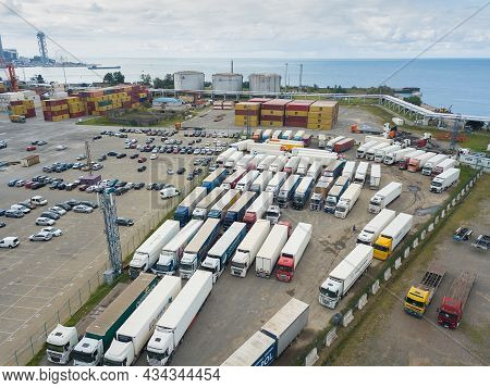 Batumi, Georgia - September 5 2021: Drone View Of The Parking Lot Of Cars, Trucks In The Port Of Bat