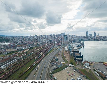 Batumi, Georgia - September 5 2021: Drone View Of The Seaport And Railway Transportation On The Blac
