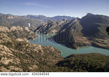 Landscape Showing Llosa Del Cavall Swamp Wunder A Clear Blue Sky In Lord Valley In Catalonia