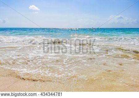 Tropical Mexican Beach Waves Punta Esmeralda Playa Del Carmen Mexico.