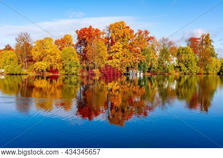 Grand Pond In Autumn In Catherine Park, Pushkin (tsarskoe Selo), Saint Petersburg, Russia