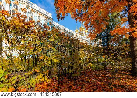 Catherine Palace And Park In Autumn Foliage, Tsarskoe Selo (pushkin), Saint Petersburg, Russia