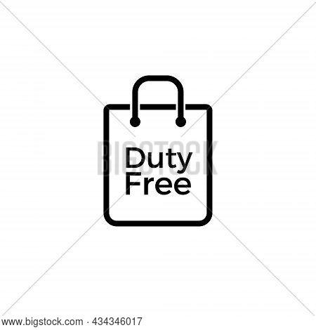 Duty Free Bag Vector Icon Shop. Line Airpotr Duty Free Icon Sign. Tax Free Symbol
