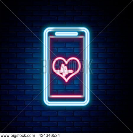 Glowing Neon Line Smartphone With Free Wi-fi Wireless Connection Icon Isolated On Brick Wall Backgro