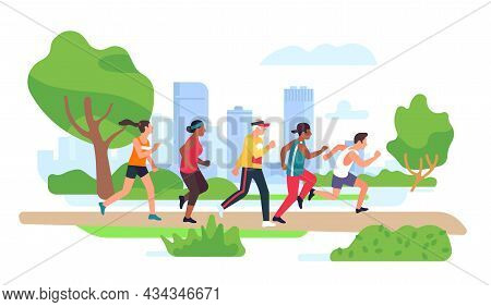 City Park Running. People Group Engaged In Jogging Outdoor. Morning Walking. Sports Characters Train