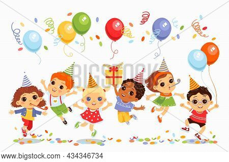 Jumping Birthday Kids. Little Cute Friends Have Fun, Children Holiday Party, Balloons, Bright Decora