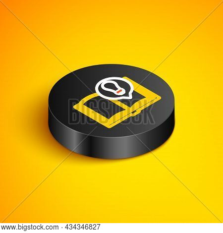Isometric Line Interesting Facts Icon Isolated On Yellow Background. Book Or Article And Light Bulb.