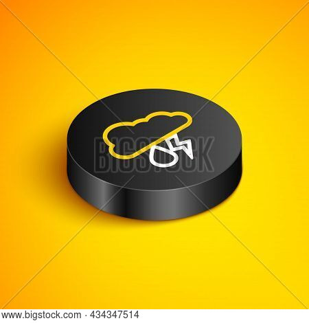 Isometric Line Cloud With Rain And Lightning Icon Isolated On Yellow Background. Rain Cloud Precipit