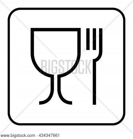 Food Grade Icon Pictogram Plastic Contact Fork And Glass Symbol. Food Grade Hygiene Packaging Sign